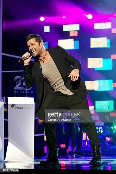 Singer Ricky Martin performs on stage during 'Cadena Dial' awards 2011 at Tenerife Auditorium on February 22 2011 in Tenerife Spain