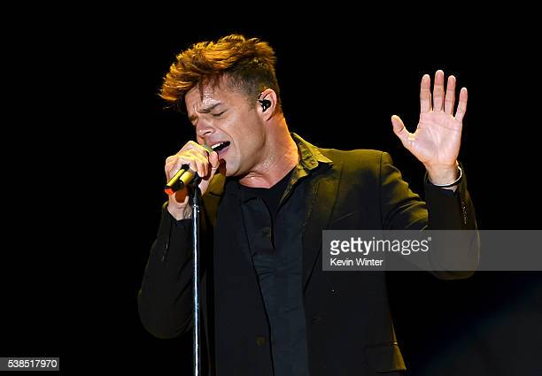 Singer Ricky Martin performs onstage during the 'Hillary Clinton She's With Us' concert at The Greek Theatre on June 6 2016 in Los Angeles California