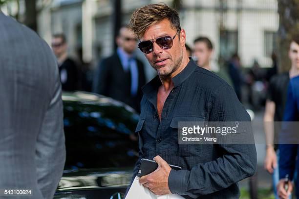 Singer Ricky Martin wearing a black button shirt outside Balmain during the Paris Fashion Week Menswear Spring/Summer 2017 on June 25 2016 in Paris...