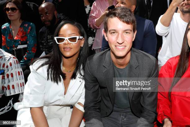 Singer Rihana and CEO of Rimowa Alexandre Arnault attend the Louis Vuitton Menswear Spring/Summer 2019 show as part of Paris Fashion Week on June 21...