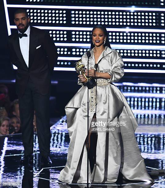 Singer Rihanna accepts the Michael Jackson Video Vanguard Award, for her decade-long impact on music, pop culture, fashion, film and philanthropy,...