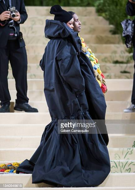Singer Rihanna and A$AP Rocky attend The 2021 Met Gala Celebrating In America: A Lexicon Of Fashion at The Metropolitan Museum of Art on September...