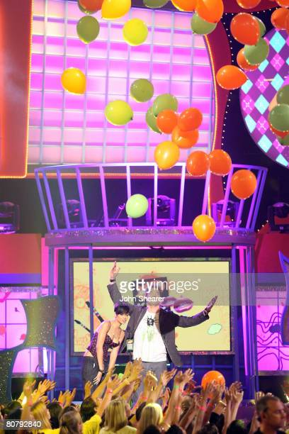 Singer Rihanna and Actor Brendan Frasier onstage during Nickelodeon's 2008 Kids' Choice Awards held at the Pauley Pavilion on March 29 2008 in...