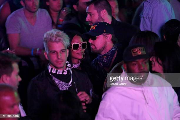 Singer Rihanna and actor Leonardo DiCaprio attend the Levi's Brand and RE/DONE Levi's presents NEON CARNIVAL with Tequila Don Julio on April 16 2016...