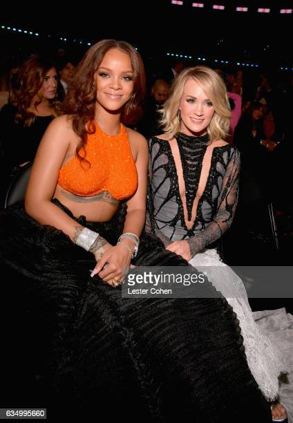 Singer Rihanna and Carrie Underwood during The 59th GRAMMY Awards at STAPLES Center on February 12 2017 in Los Angeles California