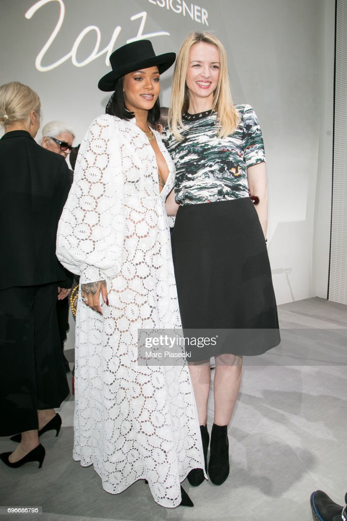 Singer Rihanna and Delphine Arnault attend the 'Young Fashion Designer': LVMH Prize 2017 edition at Fondation Louis Vuitton on June 16, 2017 in Paris, France.