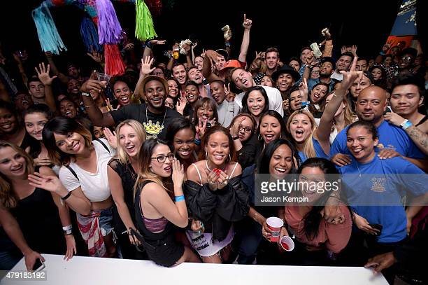 Singer Rihanna and fans enjoy the TIDAL X RIHANNA BBHMM event on July 1 2015 in Los Angeles California