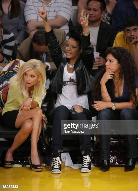 Singer Rihanna and guest attend Game Two of the NBA Finals between the Los Angeles Lakers and the Orlando Magic at Staples Center on June 7 2009 in...