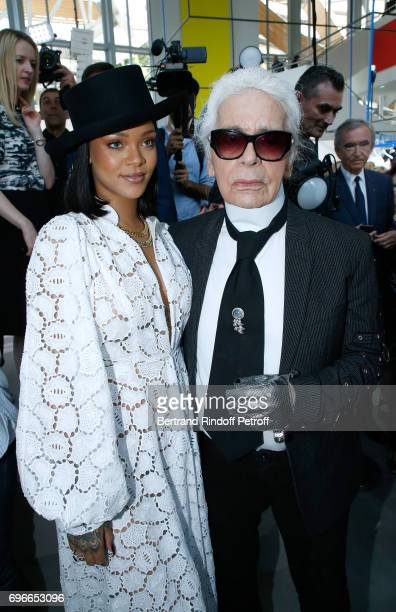 Singer Rihanna and Member of the Jury stylist Karl Lagerfeld attend the Young Fashion Designer LVMH Prize 2017 Edition at Fondation Louis Vuitton on...