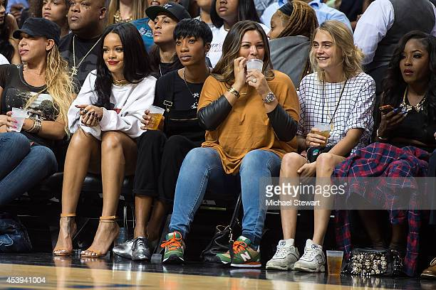 Singer Rihanna and model Cara Delevingne attend the 2014 Summer Classic Charity Basketball Game at Barclays Center on August 21 2014 in New York City