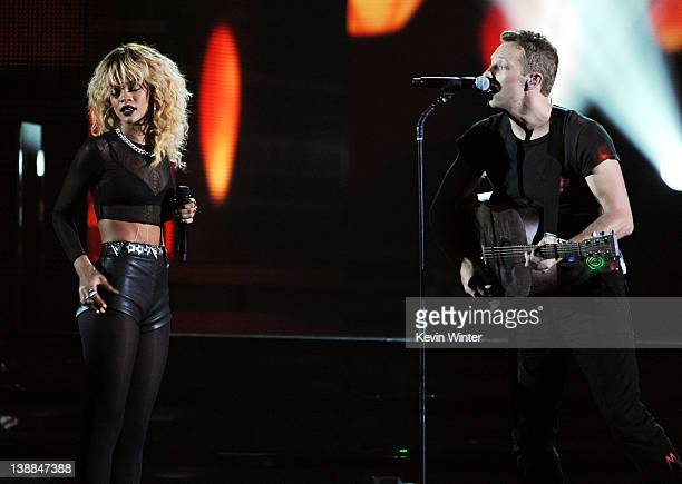 Singer Rihanna and musician Chris Martin of Coldplay perform onstage at the 54th Annual GRAMMY Awards held at Staples Center on February 12 2012 in...