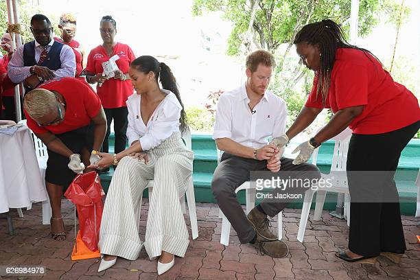 Singer Rihanna and Prince Harry have their blood samples taken for an live HIV test in order to promote more widespread testing for the public at the...