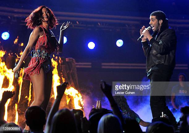 Singer Rihanna and rapper Drake onstage during The 53rd Annual GRAMMY Awards held at Staples Center on February 13 2011 in Los Angeles California