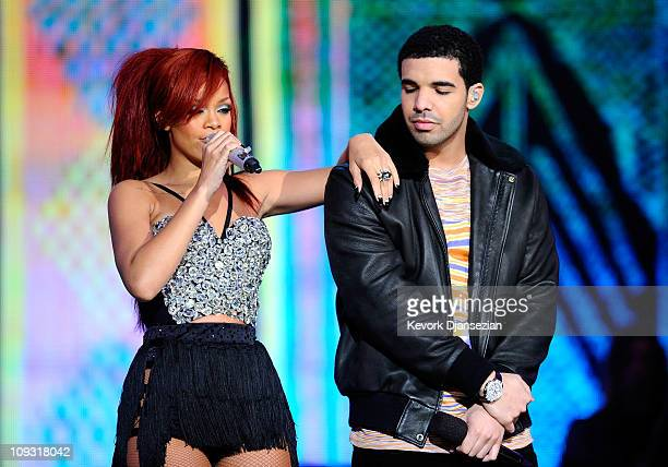 Singer Rihanna and rapper Drake perform during the 2011 NBA AllStar game halftime show at Staples Center on February 20 2011 in Los Angeles...