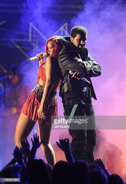 Singer Rihanna and rapper Drake perform onstage during The 53rd Annual GRAMMY Awards held at Staples Center on February 13 2011 in Los Angeles...