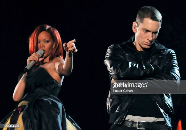 Singer Rihanna and rapper Eminem perform onstage during The 53rd Annual GRAMMY Awards held at Staples Center on February 13, 2011 in Los Angeles,...