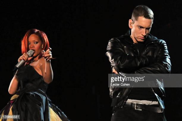 Singer Rihanna and rapper Eminem perform onstage during The 53rd Annual GRAMMY Awards held at Staples Center on February 13 2011 in Los Angeles...
