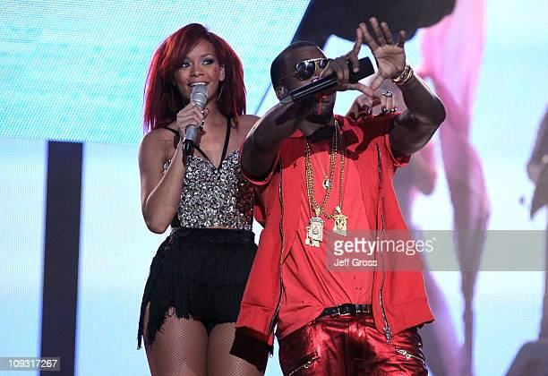 Singer Rihanna and rapper Kanye West perform during the 2011 NBA AllStar game halftime show at Staples Center on February 20 2011 in Los Angeles...