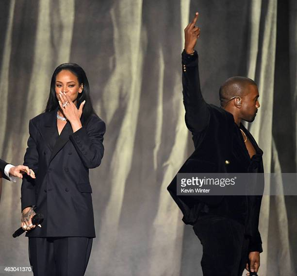 Singer Rihanna and rapper Kanye West perform onstage during The 57th Annual GRAMMY Awards at the STAPLES Center on February 8 2015 in Los Angeles...