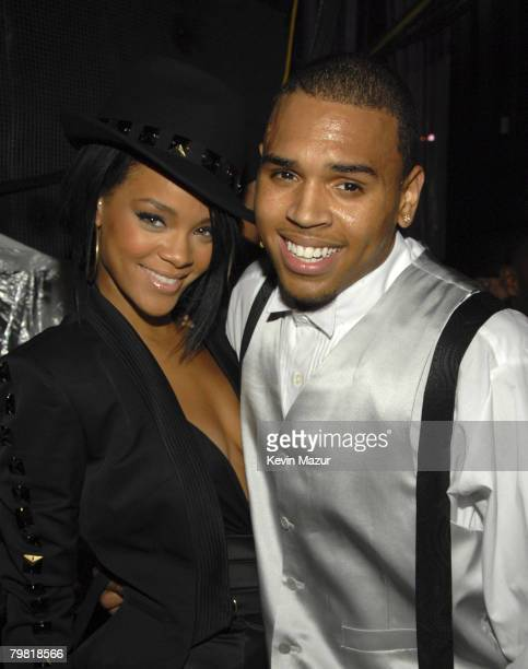 LAS VEGAS SEPTEMBER 09 Singer Rihanna and Singer Chris Brown backstage at the 2007 MTV Video Music Awards at The Palms on September 9 2007 in Las...