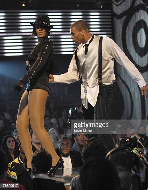 Singer Rihanna and Singer Chris Brown performs at the 2007 MTV Video Music Awards at The Pearl Concert Theater on September 9 2007 in Las Vegas Nevada