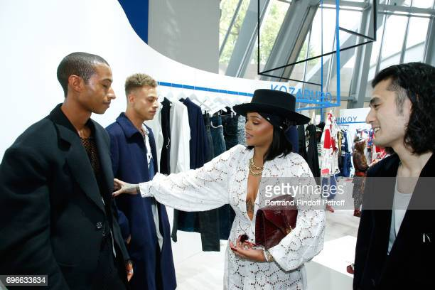 Singer Rihanna and Winner of the Special Prize from the Jury Stylist Kozaburo Akasaka attend the Young Fashion Designer LVMH Prize 2017 Edition at...