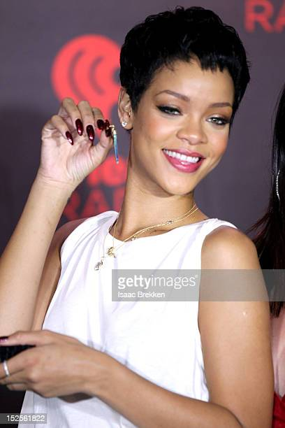 Singer Rihanna appears backstage during the 2012 iHeartRadio Music Festival at the MGM Grand Garden Arena on September 21 2012 in Las Vegas Nevada