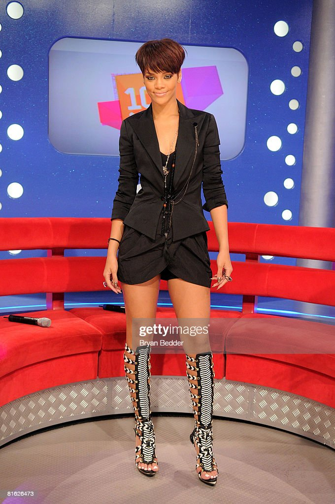 Singer Rihanna appears on BET's '106 & Park' at the BET Studios on June 18, 2008 in New York City.
