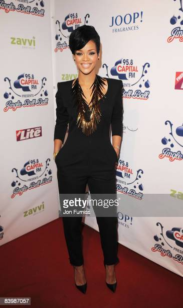 Singer Rihanna arrives at Capital FM's Jingle Bell Ball held at the 02 Arena Docklands on December 10 2008 in London England