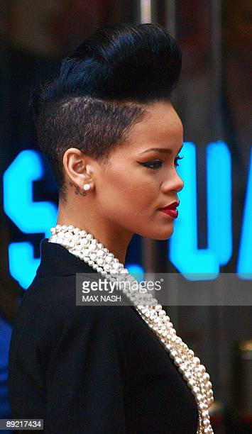 US singer Rihanna arrives at Leicester Square on July 23 to attend the British premiere of US director Quentin Tarantino's latest film Inglourious...
