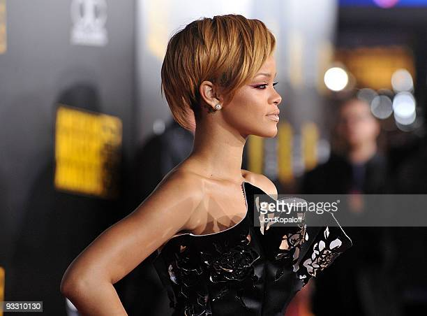Singer Rihanna arrives at Nokia Theatre LA Live on November 22 2009 in Los Angeles California
