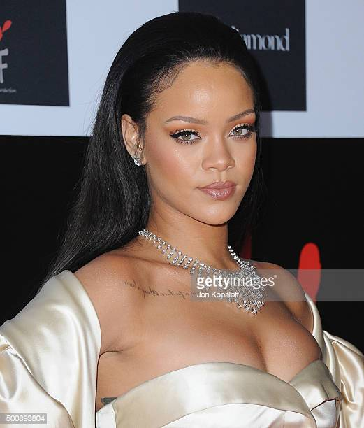 Singer Rihanna arrives at Rihanna and The Clara Lionel Foundation Host 2nd Annual Diamond Ball at The Barker Hanger on December 10 2015 in Santa...