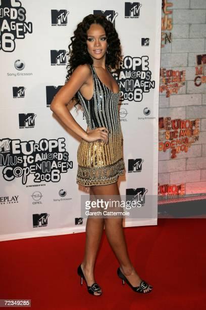 Singer Rihanna arrives at the 13th annual MTV Europe Music Awards 2006 at the Bella Center on November 2 2006 in Copenhagen Denmark