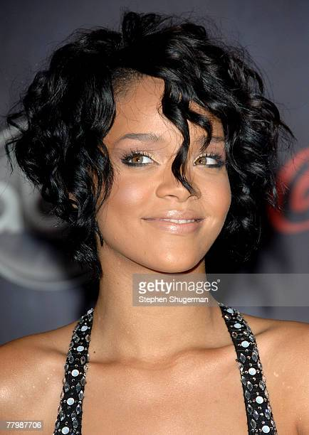 Singer Rihanna arrives at the 2007 American Music Awards held at the Nokia Theatre LA LIVE on November 18 2007 in Los Angeles California