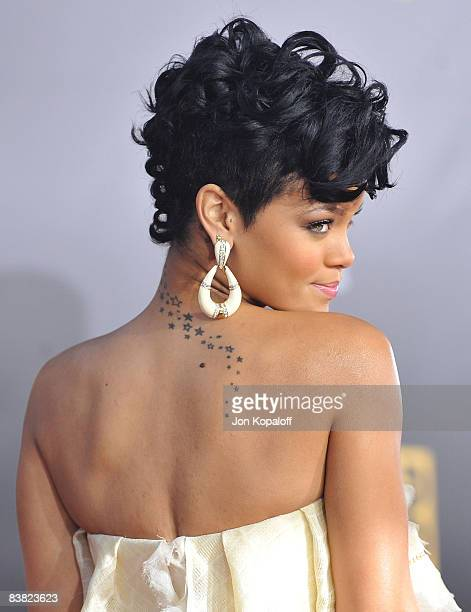Singer Rihanna arrives at the 2008 American Music Awards held at Nokia Theatre LA LIVE on November 23 2008 in Los Angeles California
