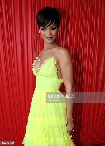 Singer Rihanna arrives at the 2008 BET Awards at the Shrine Auditorium on June 24 2008 in Los Angeles California