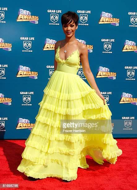 Singer Rihanna arrives at the 2008 BET Awards held at the Shrine Auditorium on June 24 2008 in Los Angeles California