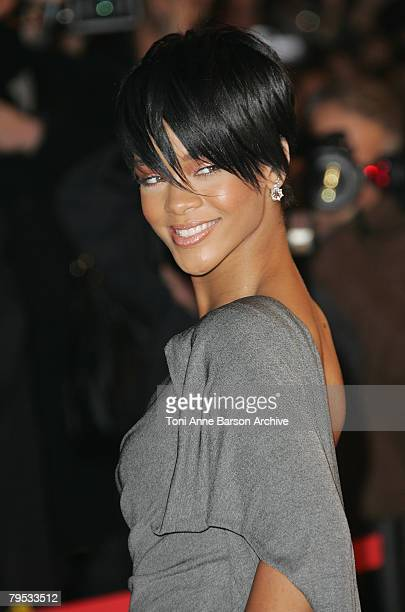 Singer Rihanna arrives at the 2008 NRJ Music Awards at the Palais des Festivals on January 26 2008 in Cannes France