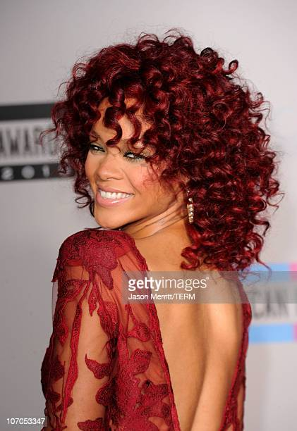 Singer Rihanna arrives at the 2010 American Music Awards held at Nokia Theatre LA Live on November 21 2010 in Los Angeles California