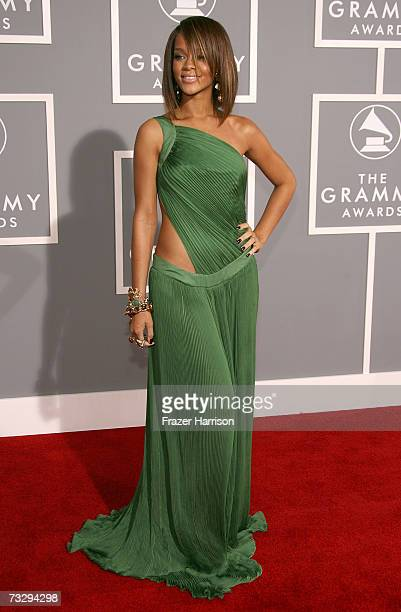 Singer Rihanna arrives at the 49th Annual Grammy Awards at the Staples Center on February 11 2007 in Los Angeles California
