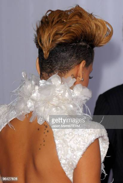 Singer Rihanna arrives at the 52nd Annual GRAMMY Awards held at Staples Center on January 31 2010 in Los Angeles California