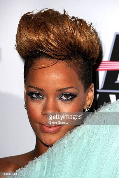 Singer Rihanna arrives at the 52nd Annual GRAMMY Awards Salute To Icons Honoring Doug Morris held at The Beverly Hilton Hotel on January 30 2010 in...