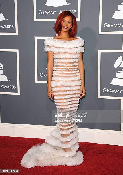 Singer Rihanna arrives at The 53rd Annual GRAMMY Awards held at Staples Center on February 13 2011 in Los Angeles California