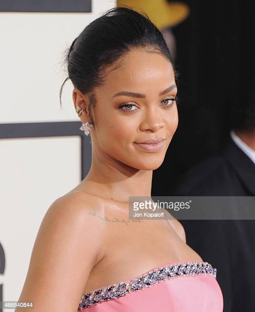 Singer Rihanna arrives at the 57th GRAMMY Awards at Staples Center on February 8 2015 in Los Angeles California