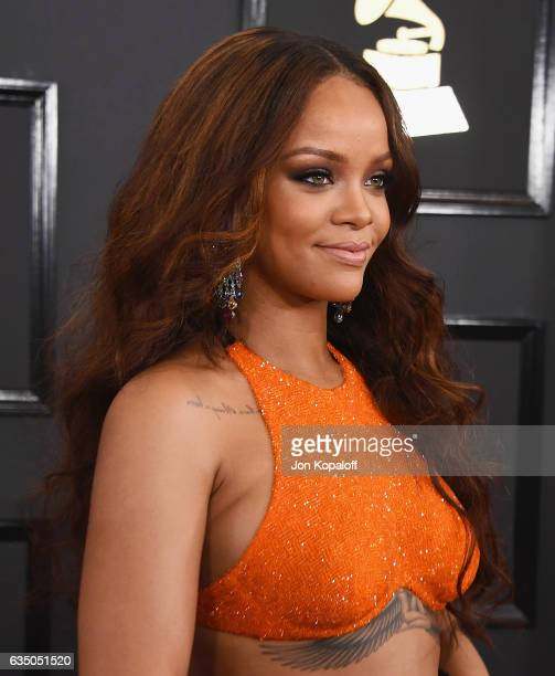 Singer Rihanna arrives at the 59th GRAMMY Awards at the Staples Center on February 12 2017 in Los Angeles California