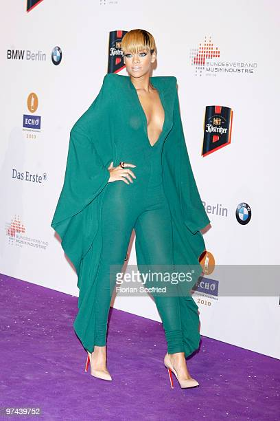 Singer Rihanna arrives at the Echo Award 2010 at Messe Berlin on March 4 2010 in Berlin Germany
