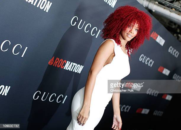 Singer Rihanna arrives at the Gucci and RocNation PreGRAMMY brunch held at Soho House on February 12 2011 in West Hollywood California