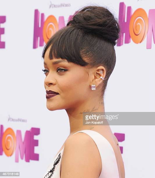 Singer Rihanna arrives at the Los Angeles Premiere 'HOME' at Regency Village Theatre on March 22 2015 in Westwood California