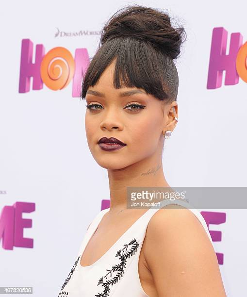 Singer Rihanna arrives at the Los Angeles Premiere HOME at Regency Village Theatre on March 22 2015 in Westwood California