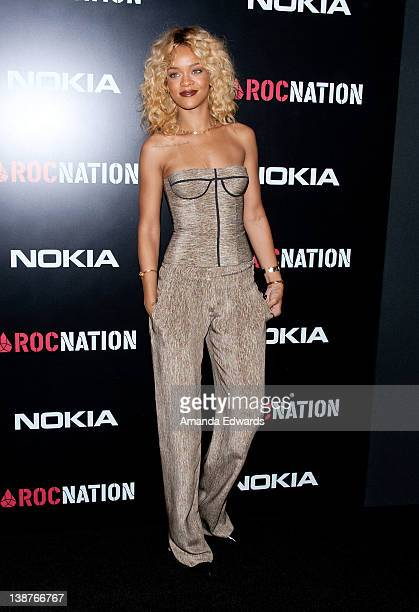 Singer Rihanna arrives at the Roc Nation PreGRAMMY Brunch at Soho House on February 11 2012 in West Hollywood California
